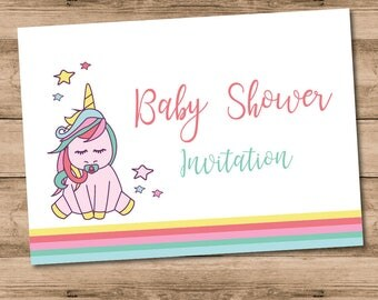 10 x Printed Unicorn Baby Shower Invitations with Envelopes