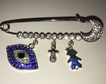 Royal Blue Baby Boy Stroller Pin with Evil Eye