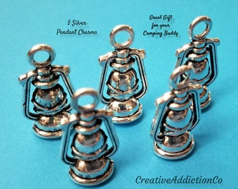 Lantern charms, Silver charms, Camping jewelry, Silver Lantern pendant, Tibetan Charm, Charm bracelet, Metal charm, Camping Gifts #132A