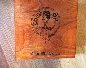 Square wooden Clan MacLellan box