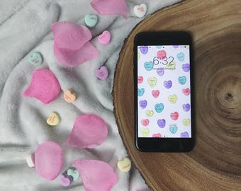 Conversation Hearts Wallpaper for iPhone 5, 5S, 5C, SE