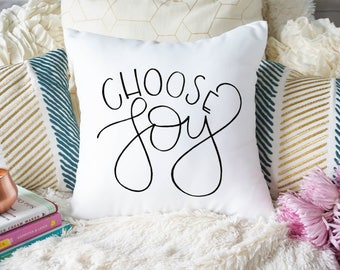 Choose Joy Square Pillow | Handlettered Pillow | Throw Pillow Case | Home Decor | Housewarming Gift | Unique Gift