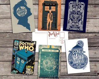 Doctor Who set 6 postcards |  movie poster  | film print | dr who art poster | time lord print | whovian illustration | postcard set