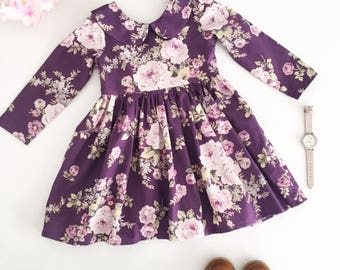 Floral Long Sleeve Dress, Winter Dress, Girls Winter Dress