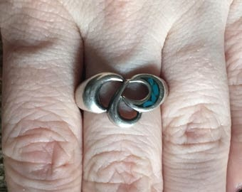Sterling Silver .925 Blue Inlay Size 6 Ring