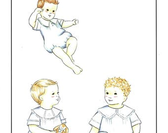 Creations by Michie' #111 / Boys Heirloom Bubble / Sizes 3 - 24 mo