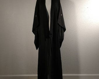 Vintage Japanese kimono, black silk robe, silk, semi-formal traditional Japanese robe, see through, kuro tomesode, three crest, mitsu mon