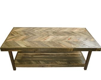 Reclaimed Wood Coffee Table from Recycled Wyoming Snow Fence - Herringbone Pattern