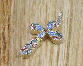 Micro Mosaic Cross Pendant, Religious Gift, Religious Necklace, Religious Jewelry, Religious Jewellery, Cross Pendant