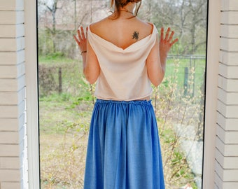 Long skirt with hand weaved belt, maxi skirt, seamless skirt, Tuba-skirt