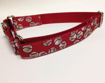 Martingale Dog Collar, Large Red Martingale Collar, Large Baseball Martingale Dog Collar, Large Adjustable Dog Collar