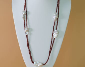 Baroque Pearl Garnet Necklace