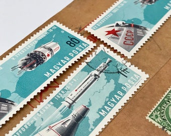 5 used vintage Hungarian vintage postage stamps | Perfect for scrapbooking, stamp collecting, snail mail art, and crafting | Space Travel