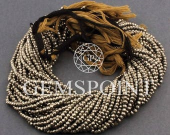 Natural Pyrite  3.5mm to 4mm Faceted Roundels, 14 inch strand, Pyrite Rondelle Beads (R-PYR-0001)