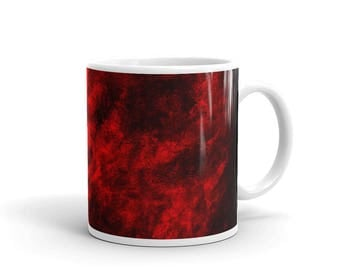 Red mist original unique watercolor painting white glossy mug