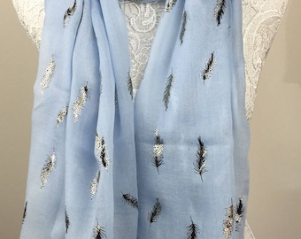 Fern Metallic Print Scarf - Light Blue