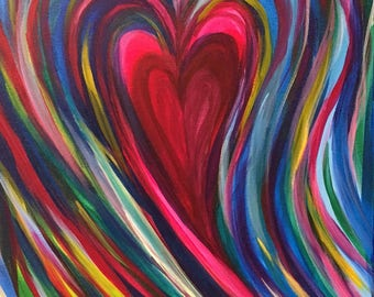 Radiating Love Heart Painting
