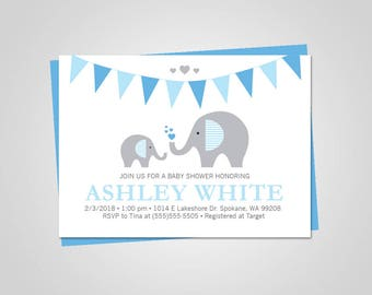 Baby shower invitation/Baby shower invitation elephant/Elephant Baby Shower/Baby Shower invitation boy digital/Baby shower invitation boy