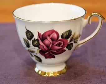 Windsor Bone China Teacup, Rose Pattern