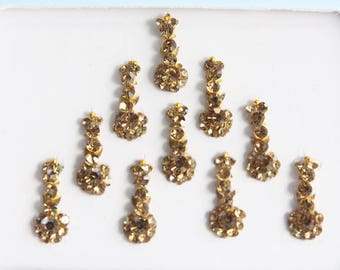 10 Gold Antique Long Face Jewels,Wedding Long Bindis Stickers,Stone Bindis,Gold Bindis,India Bindis,Bollywood Bindis,Self Adhesive Stickers