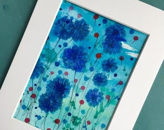 Watercolour painting, Wildflower art, Cornflowers, Bridesmaid gift, New home gift, gifts for her, original watercolour painting, unique gift
