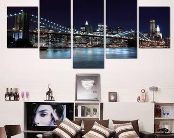 Brooklyn Canvas Print, Brooklyn Canvas Art, Brooklyn Large Canvas Print, Brooklyn 5 Piece Canvas,Brooklyn Canvas Wall Decor, Framed