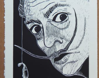 Salvador no. 3/23 --limited edition linocut print on archival paper