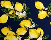 Lemons and Flowers on Navy