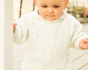 Baby Sweater, Hand Knitted, Size 1-2 Years, White, Long Sleeve, Little Girl, Knitted Gift,  Baby Gift, Baby Shower,  Gift Idea