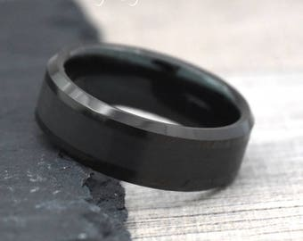 black tungsten wedding ring black wedding band mens wedding ring black 8mm black - Mens Wedding Rings Black
