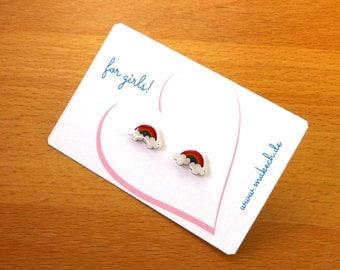 Girl children jewelry ear studs earrings 925 Silver Rainbow
