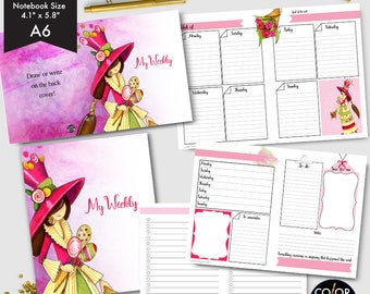 A6 size Weekly Printable, Enna Girl Andrea Weekly Plan Printable Planner Insert.  CMP-244.1