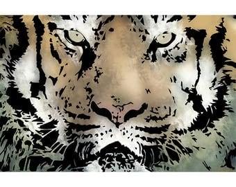 Stunning Tiger, Tiger Art, Tiger Artwork, Wildlife Art Decor, Animal Wall Decor, Tiger Gift, Home Wall Art, Home Decor