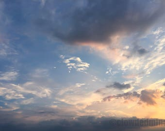 Cloud photography. 12x18 sunset cloudscape. Nature photography.