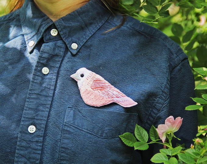 Hand embroidery Bird brooch Embroidered brooch Embroidery pin Woodland brooch Woodland jewelry pin Nature inspired pin Nature brooch pin