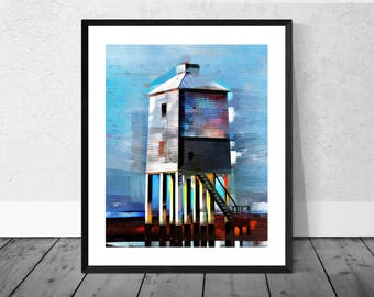 Lighthouse Art Print, Seaside Art Print, Lighthouse, Burnham on Sea,  Beach Art, Coastal Decor, Blue, Seascape, Home Décor, Giclee Print