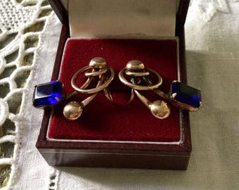 ART DECO c1930 VINTAGE Screw earrings - Vermeil, gold sterling silver rose gold-blue stone-Vintage hand-made design Creator!