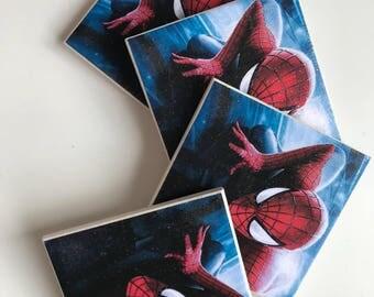 Superhero ceramic tile coasters
