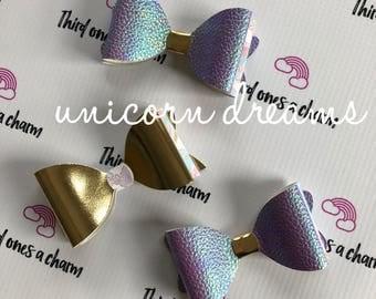 Unicorn Deeams Bow Collection- clips or headbands, newborn, baby girl, toddler girl, big girl