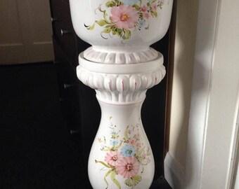 """Porcelain Floral Jardiniere Planter 30"""" high"""