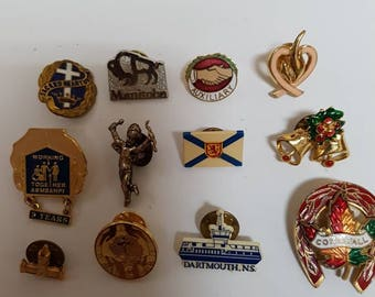Collection of rare vintage push back lapel pins and misc. items 12 piece lot