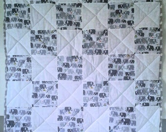 Elephants on Parade - crib quilt, tummy time, EVERYDAY QUILT, made to last