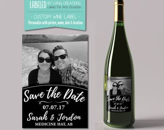 save the date wine label - custom wedding wine label - engagement party label - personalized wine - waterproof label - DIY