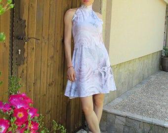 Short summer  dress with flower motifs , Mod.FIONA