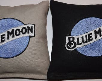 Embroidered Blue Moon Cornhole Bags Set of Eight - Sweet