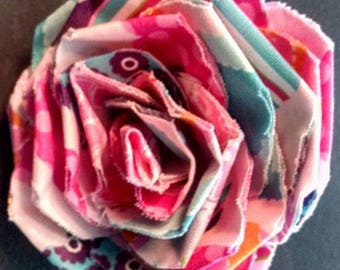 Fabric Rose Barrette Hearts Pattern