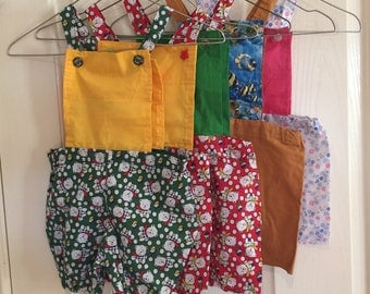 Hand sewn baby rompers overalls