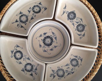 Blue and white divided serving tray
