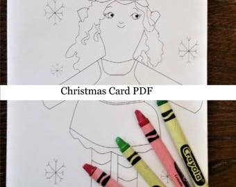 Merry Christmas Card Instant Download PDF Elf Coloring Page