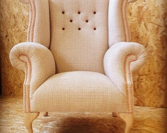 Bespoke Wingback Armchair Handmade and Upholstered in Laura Ashley 'Etienne' Fabric. Free UK postage.